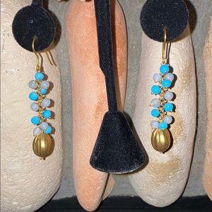 Fish Hook Style Dangle Earrings Gold-Toned